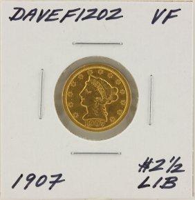 1907 $2 1/2 VF Liberty Head Quarter Eagle Gold Coin Dav