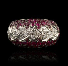 14KT White Gold 2.00ctw Ruby & 0.80ctw Diamond Ring GB4