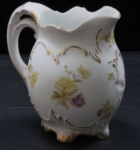 Bavarian Lemonade Pitcher With Painted Flowers ED101