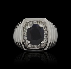 SILVER 5.13ct Blue Sapphire And White Sapphire Ring RM8