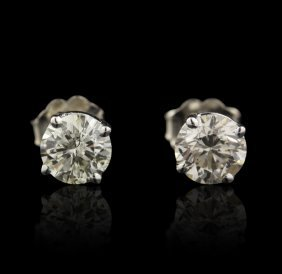 14KT White Gold 1.38ctw Diamond Stud Earrings FJM2337