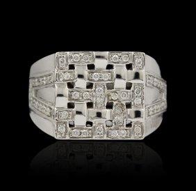14KT White Gold 0.55ctw Diamond Ring FJM2435