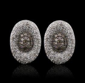 14KT White Gold 1.07ctw Diamond Earrings FJM2531