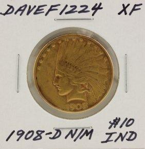 1908-D N/M $10 XF Indian Head Eagle Gold Coin DaveF1224