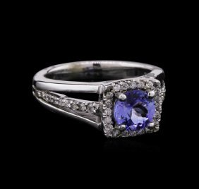 1.08ct Tanzanite And Diamond Ring - 14kt White Gold