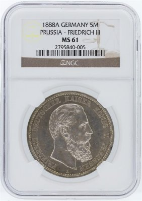 1888a Ngc Ms61 Germany 5m Prussia - Friedrich Iii Coin
