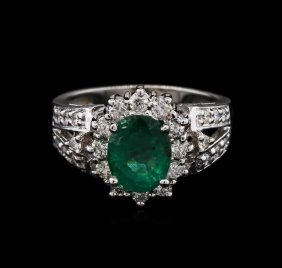 1.92ct Emerald And Diamond Ring - 14kt White Gold