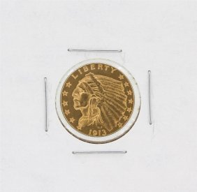 1913 $2.50 Cu Indian Head Quarter Eagle Gold Coin