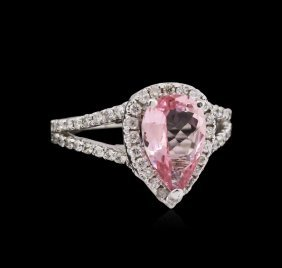 1.65ct Pink Tourmaline And Diamond Ring - 14kt White