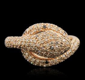 18kt Rose Gold 0.08ct Black Diamond And Diamond Ring