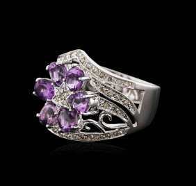 14kt White Gold 1.25ctw Amethyst And Diamond Ring