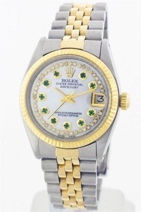 Rolex Two-tone Diamond And Emerald Datejust Ladies