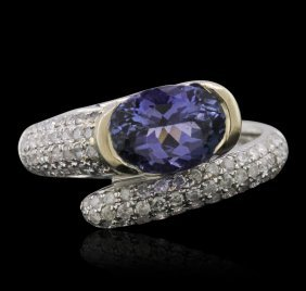 14kt Two-tone Gold 1.99ct Tanzanite And Diamond Ring