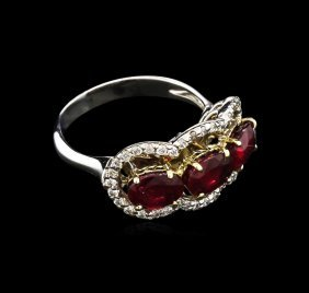3.16ctw Ruby And Diamond Ring - 14kt Two-tone Gold