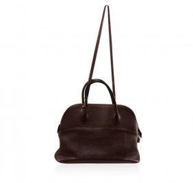 Hermes Brown Leather Purse With Shoulder Sling