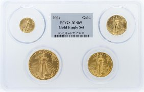2004 Pcgs Ms69 American Eagle Gold Coin Set
