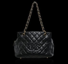 Authentic Chanel Black Quilted Caviar Skin Leather Bag