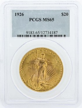 1926 Pcgs Graded Ms65 $20 St. Gaudens Double Eagle Gold