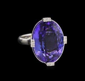 14kt White Gold 16.98ct Tanzanite And Diamond Ring
