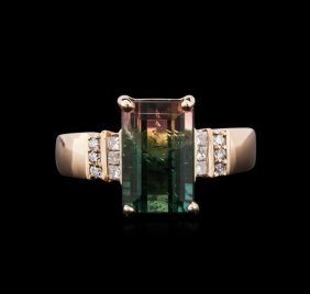 4.49ct Bi-color Tourmaline And Diamond Ring - 14kt Rose