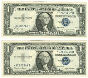1957b $1 Star Silver Certificate Lot Of 2 Consecutive