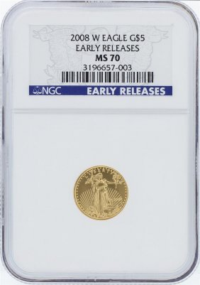 2008-w Ngc Ms70 Early Release American Eagle Gold Coin