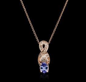 14kt Rose Gold 0.72ct Tanzanite And Diamond Pendant