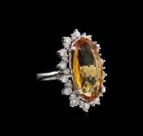 12.39ct Imperial Topaz And Diamond Ring - 14kt White
