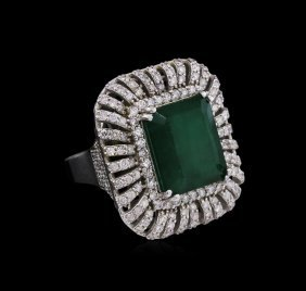 14kt White Gold 12.25ct Emerald And Diamond Ring
