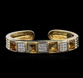 14kt Yellow Gold 10.16ctw Citrine And Diamond Bracelet