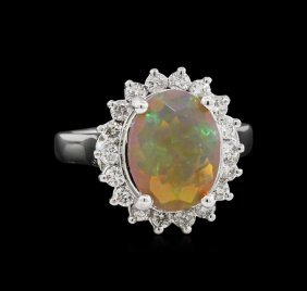 2.28ct Opal And Diamond Ring - 14kt White Gold