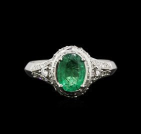 1.25ct Emerald And Diamond Ring - 14kt White Gold