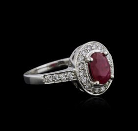 14kt White Gold 1.18ct Ruby And Diamond Ring