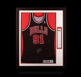 Dennis Rodman Framed Autographed Jersey