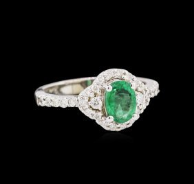 0.73ct Emerald And Diamond Ring - 14kt White Gold