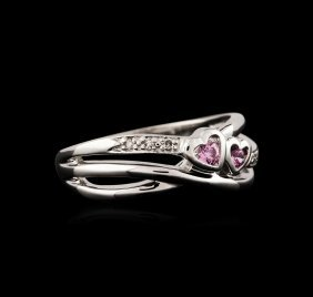 14kt White Gold 0.05ctw Pink Topaz And Diamond Ring