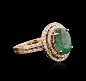 2.72ct Emerald And Diamond Ring - 14kt Rose Gold