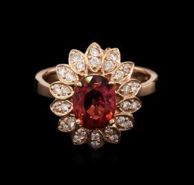2.22ct Pink Tourmaline And Diamond Ring - 14kt Rose