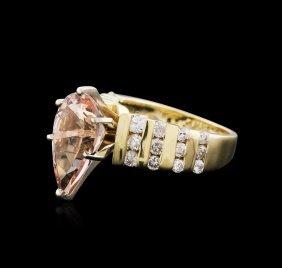 14kt Yellow And White Gold 3.18ct Morganite And Diamond