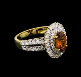 1.87ct Sapphire And Diamond Ring - 18kt Yellow Gold