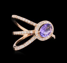 0.72ct Tanzanite And Diamond Ring - 14kt Rose Gold