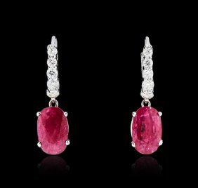 18kt White Gold 3.65ctw Ruby And Diamond Earrings