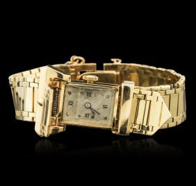 Ladies 14kt Yellow Gold Hidden Dial Vintage Wristwatch