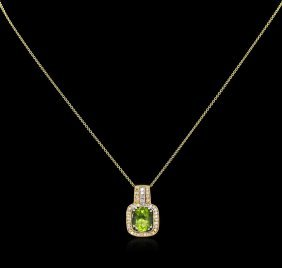 2.66ct Peridot And Diamond Pendant With Chain - 14kt