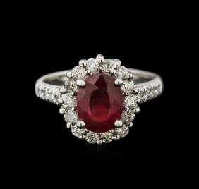 2.75ct Ruby And Diamond Ring - 14kt White Gold
