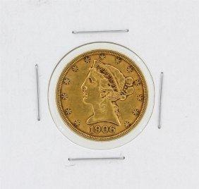1906 $5 Xf Liberty Head Half Eagle Gold Coin