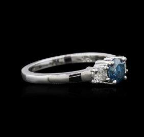 14kt White Gold 0.91ctw Blue Diamond Ring