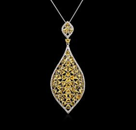 4.50ctw Citrine And Diamond Pendant With Chain - 14kt