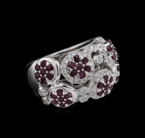 1.97ctw Ruby And Diamond Ring - 14kt White Gold