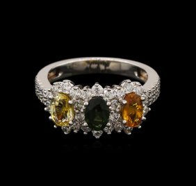 1.85ctw Multi Color Sapphire And Diamond Ring - 14kt